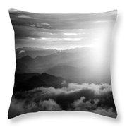 Sunset Himalayas Mountain Nepal Silhouette Throw Pillow