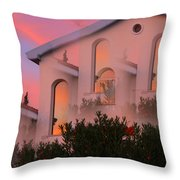 Sunset On Houses Throw Pillow