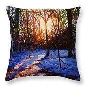 Sunset On Snow Throw Pillow