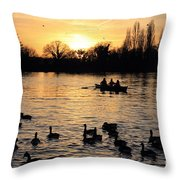 Sunset On The Thames At Walton Throw Pillow