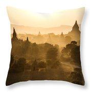 Sunset Over Bagan - Myanmar Throw Pillow