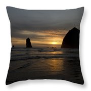 Sunset Over Haystack Rock In Cannon Beach Throw Pillow