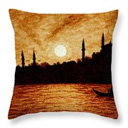 Sunset Over Istanbul Original Coffee Painting Throw Pillow
