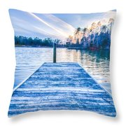 Sunset Over Lake Wylie At A Dock Throw Pillow
