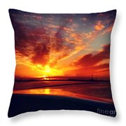 Sunset Puddle Reflections Throw Pillow