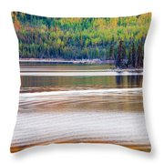 Sunset Reflections On Boreal Forest Lake In Yukon Throw Pillow