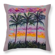 Sunset Trio Throw Pillow by Eve  Wheeler