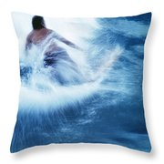 Surfer Carving On Splashing Wave, Interesting Perspective And Blur Throw Pillow