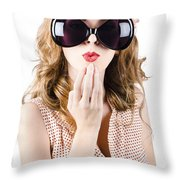 Surprised Beautiful Pin-up Girl. White Background Throw Pillow
