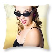 Surprised Pinup Girl On Tropical Beach Background Throw Pillow