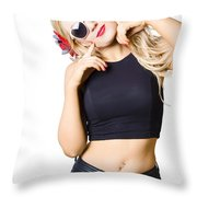 Surprised Pinup Woman Isolated On White Throw Pillow