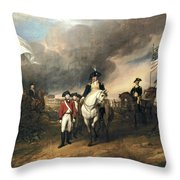 Surrender Of Lord Cornwallis Throw Pillow by John Trumbull