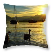Swans In Sunset Throw Pillow