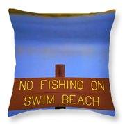 Swim Beach Sign II Throw Pillow
