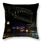 Sydney Harbor Bridge At Night Throw Pillow