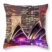 Sydney Skyline At Night With Opera House - Australia Throw Pillow