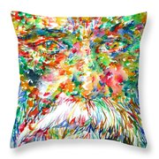 Tagore - Watercolor Portrait Throw Pillow