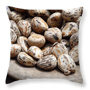 Tagua Nuts In A Wood Dish Throw Pillow
