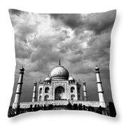 Taj Mahal India In Black And White Throw Pillow