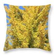 Tall Ginkgo Tree Throw Pillow