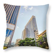 Tall Highrise Buildings In Uptown Charlotte Near Blumenthal Perf Throw Pillow