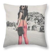 Tall Young Black Woman Modelling Handbag Accessory Throw Pillow