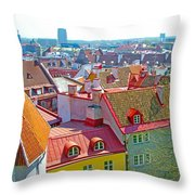 Tallinn From Plaza In Upper Old Town-estonia Throw Pillow