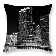 Tampa Black And White  Throw Pillow
