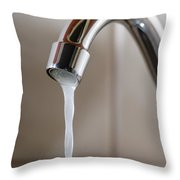 Tap With Water Flowing Slowly Throw Pillow