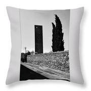 Tarquinia Muro Di Cinta Cipressi Torre Lampione Throw Pillow
