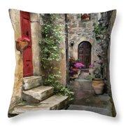 Tarquinia Red Door Impasto Throw Pillow