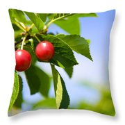 Tart Cherries Throw Pillow
