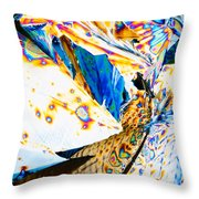 Tartaric Acid Crystals In Polarized Light Throw Pillow
