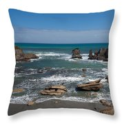 Tasman Sea At West Coast Of South Island Of Nz Throw Pillow