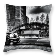 Taxi At Canary Wharf Throw Pillow
