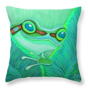 Teal Frog Throw Pillow