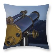 Telescope And Sunrise Throw Pillow