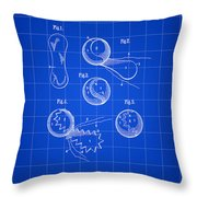 Tennis Ball Patent 1914 - Blue Throw Pillow