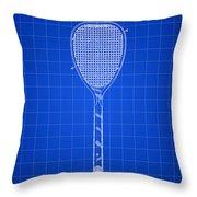 Tennis Racket Patent 1887 - Blue Throw Pillow