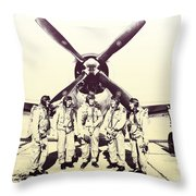 Test Pilots With P-47 Thunderbolt Fighter Throw Pillow