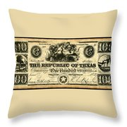 Texas Banknote, 1839 Throw Pillow