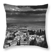 The Alhambra And Albaycin In Granada Throw Pillow