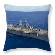 The Amphibious Assault Ship Uss Boxer Throw Pillow