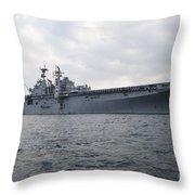 The Amphibious Assault Ship Uss Throw Pillow