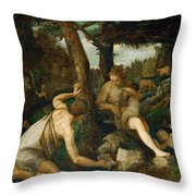 Adam And Eve After The Expulsion From Paradise Throw Pillow