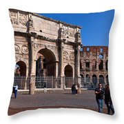 The Arch Of Constantine And Colosseum Throw Pillow