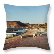 The Beachside Strolling Malecon Throw Pillow
