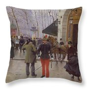 The Boulevard Des Capucines And The Vaudeville Theatre Throw Pillow