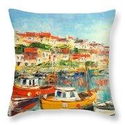 The Brixham Harbour Throw Pillow