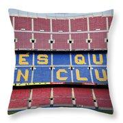 The Camp Nou Stadium In Barcelona Throw Pillow